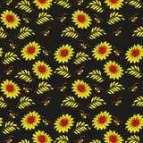 Kwiecisty bezszwowy wzór. Rosyjski khokhloma tła projekt. (Hohloma) Złociści i czerwoni kolory na czarnym tle. Zdjęcie Royalty Free