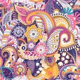 Kwiecisty bezszwowy wzór, tekstura skutek Indiański kolorowy ornament Wektorowi dekoracyjni kwiaty i Paisley Etniczny styl ilustracja wektor