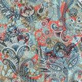 Kwiecisty bezszwowy wzór, tekstura skutek Indiański kolorowy ornament Wektorowi dekoracyjni kwiaty i Paisley Etniczny styl ilustracji