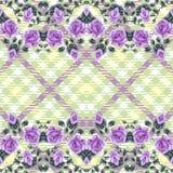 Kwiecisty bezszwowy wzór, tkanina tartan. (róże) Fotografia Royalty Free