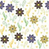 Kwiecisty bezszwowy wzór z ślicznym abstrakcjonistycznym kwiatem. Bezszwowy klepnięcie ilustracji