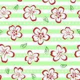 Kwiecisty bezszwowy wzór z czerwonymi i białymi kwiatami na pasiastym tle ilustracji