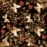 Kwiecisty bezszwowy wzór z motylem ilustracja wektor