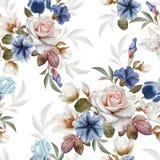 Kwiecisty bezszwowy wzór z petuniami, ciemiernikiem, różami i irysami, Zdjęcie Royalty Free
