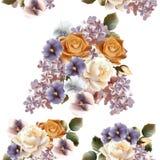 Kwiecisty bezszwowy wzór z różami, bzem i fiołkami, Zdjęcie Stock