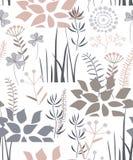 Kwiecisty bezszwowy wzór z roślinami, kwiatami, krzakami i trawą doodle, Przyjemna paleta również zwrócić corel ilustracji wektor royalty ilustracja