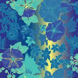 Kwiecisty bezszwowy wz?r z li??mi, kwiatami, petuniami i stokrotkami abstrakta, ilustracji