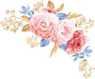 Kwiecisty bukiet róże, błękitów liście, gałąź na bielu ilustracji