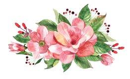 Kwiecisty bukiet z akwareli magnolią Obraz Royalty Free