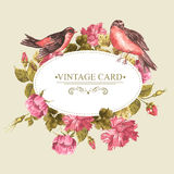 Kwiecisty bukiet z różami i ptakiem, rocznik karta Zdjęcie Stock