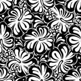 Kwiecisty czarny i biały bezszwowy wzór Wektor kwitnie backgrou Obraz Royalty Free