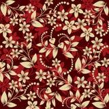 Kwiecisty deseniowy bezszwowy na czerwonym tle Ilustracja Wektor