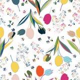 kwiecisty deseniowy bezszwowy wektor Ręka Rysująca mody ilustracja Obraz Stock