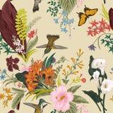 kwiecisty deseniowy bezszwowy wektorowy rocznik Egzotów ptaki i kwiaty ilustracja wektor