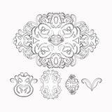 Kwiecisty deseniowy graficzny czerń, biały również zwrócić corel ilustracji wektora Fotografia Royalty Free