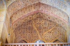Kwiecisty deseniowy obraz na suficie Ali Qapu pa?ac i ?cianie Iran obraz stock