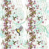 Kwiecisty deseniowy Sakura i ptak na szewronu ornamencie Zdjęcie Royalty Free