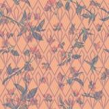 Kwiecisty deseniowy Sakura na geometrycznym ornamencie royalty ilustracja