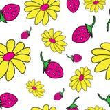 Kwiecisty i jagodowy bezszwowy wzór Fotografia Stock