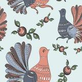 Kwiecisty i ptasi ludowy bezszwowy wzór Obrazy Royalty Free