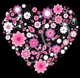 Kwiecisty jaskrawy różowy Serce Zdjęcia Stock