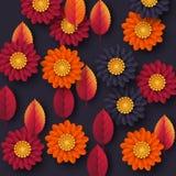 Kwiecisty jesieni tło z 3d papieru cięcia stylem kwitnie i liście Kolor żółty, pomarańcze, purpurowi kolory, wektorowa ilustracja Obrazy Royalty Free