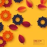 Kwiecisty jesieni tło z 3d papieru cięcia stylem kwitnie i liście Kolor żółty, pomarańcze, purpurowi kolory, wektorowa ilustracja Fotografia Royalty Free