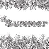Kwiecisty karciany projekt, kwiaty i liść, doodle elementy Letterig tekst Obrazy Royalty Free