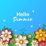 Kwiecisty kartka z pozdrowieniami z Szczęśliwy kobiety ` s dzień Papieru kwiatu wakacje rżnięta granica na błękitnym tle dla wios ilustracja wektor