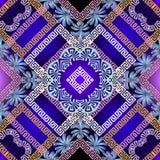 Kwiecisty kolorowy grecki wektorowy bezszwowy wzór Geometryczny abstrac zdjęcia stock