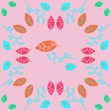 Kwiecisty koloru wzór z liśćmi Zdjęcie Royalty Free