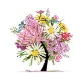 Kwiecisty lato bukiet, kierowy kształt dla twój projekta ilustracji