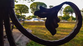 Kwiecisty metalu szczegół przy miasto ogródem zdjęcia stock