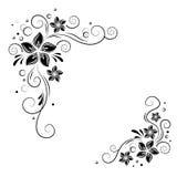 Kwiecisty narożnikowy projekt Ornamentuje czarnych kwiaty na białym tle - wektoru zapas Dekoracyjna granica z kwiaciastymi elemen Zdjęcie Royalty Free