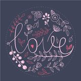 Kwiecisty natury miłości znak z ręka rysującymi elementami Zdjęcia Royalty Free