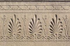 Kwiecisty ornament grawerujący na kamiennej powierzchni Zdjęcia Royalty Free
