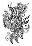 Kwiecisty ornament, Kwiecistego ornamentu tła czarny i biały karta z elegancka ręka rysującym doodle Obraz Stock