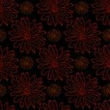 Kwiecisty ornament na czarnym tle, bezszwowy wzór Obraz Royalty Free