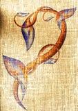 Kwiecisty ornament na wyplatającym Zdjęcia Royalty Free