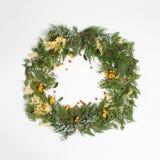 Kwiecisty ornament, round ramowy wianek od wiecznozielonego Obrazy Royalty Free