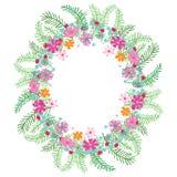 Kwiecisty owalny kolorowy wianek na białym tle royalty ilustracja