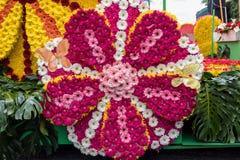 Kwiecisty pławik przy madera kwiatu festiwalu paradą, Funchal, madera, obrazy royalty free