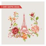 Kwiecisty Paryski Graficzny projekt dla koszulki -, moda, tło royalty ilustracja
