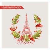 Kwiecisty Paryski Graficzny projekt dla koszulki -, moda, tło ilustracja wektor