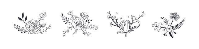 Kwiecisty pastelowego koloru wektorowy bukiet z wzrastał, peonia, anemon, Sakura, dzicy kwiaty Ręka rysujący wieśniacy odizolowyw royalty ilustracja