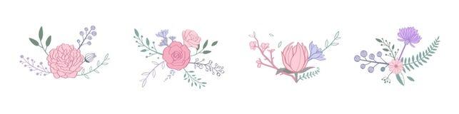 Kwiecisty pastelowego koloru wektorowy bukiet z wzrastał, peonia, anemon, Sakura, dzicy kwiaty Ręka rysujący wieśniacy odizolowyw ilustracja wektor