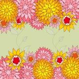 Kwiecisty plecy Pociągany ręcznie kwiaty Zdjęcia Stock