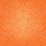 Kwiecisty Pomarańczowy Retro tapetowy tło ilustracja wektor