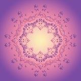 Kwiecisty różowy mandala na purpurowym tle Zdjęcia Royalty Free