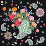 Kwiecisty róg obfitość Piękny wzór z Paisley, mandala, bukiety ogrodnictwo kwitnie Zdjęcie Stock